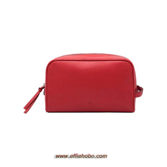 Mulberry Wash Case with Braided Handle Bright Red Soft Nappa Leather