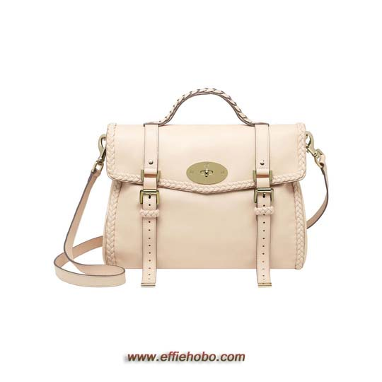 Mulberry Oversized Alexa with Woven Trim Creamy Pink Small Grain Calf Nappa