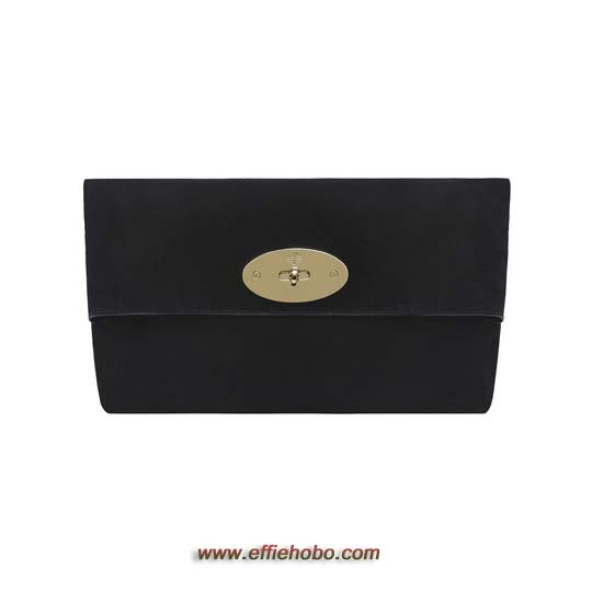 Mulberry Oversized Clemmie Clutch Black Suede