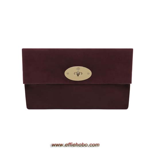 Mulberry Oversized Clemmie Clutch Oxblood Suede
