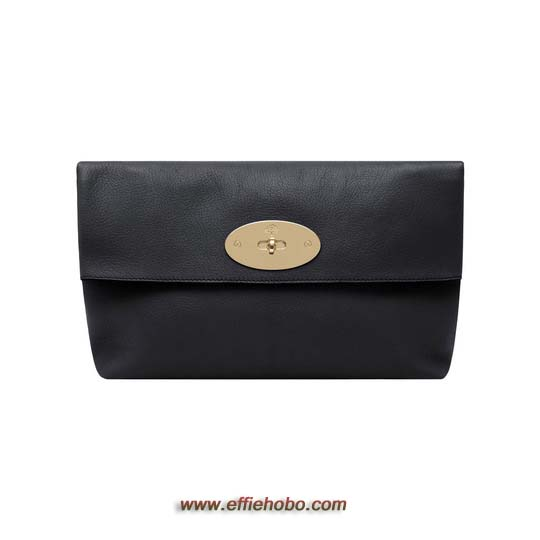 Mulberry Oversized Clemmie Clutch Black Glossy Goat Leather