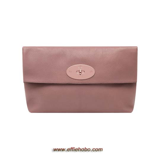 Mulberry Oversized Clemmie Clutch Dark Blush Glossy Goat Leather