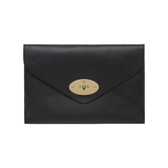 Mulberry Willow Clutch in Black Silky Classic Calf with Soft Gold