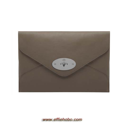 Mulberry Willow Clutch Taupe Silky Classic Calf with Nickel