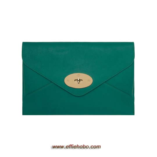 Mulberry Willow Clutch Emerald Silky Classic Calf with Soft Gold