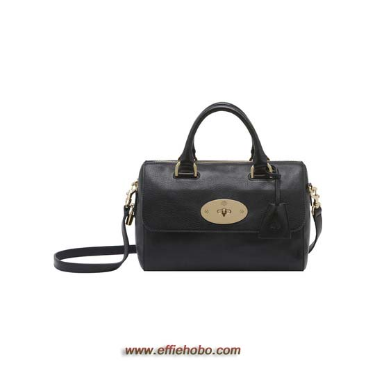 Mulberry Small Del Rey Black Glossy Goat with Soft Gold