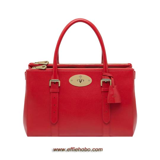 Mulberry Bayswater Double Zip Tote Bright Red Shiny Goat