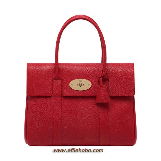 Mulberry Bayswater Bright Red Textured Lizard Print