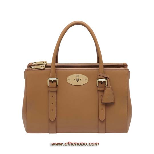 Mulberry Bayswater Double Zip Tote Deer Brown Silky Classic Calf