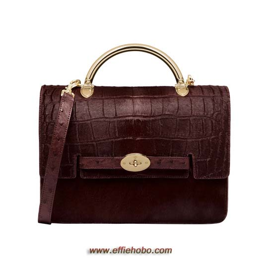 Mulberry Large Bayswater Shoulder Oxblood Printed & Plain Hair Calf Mix