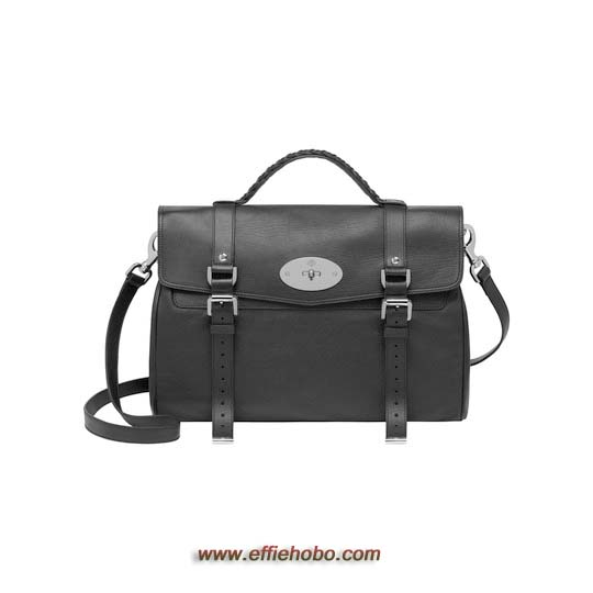 Mulberry Oversized Alexa Black Polished Buffalo with Nickel