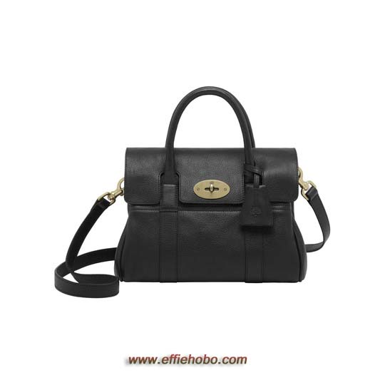 Mulberry Small Bayswater Satchel Black Natural Leather
