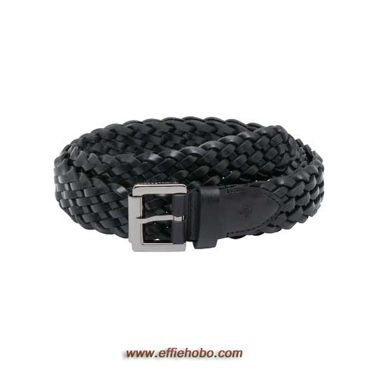Mulberry Unisex Plaited Belt Black Natural Leather