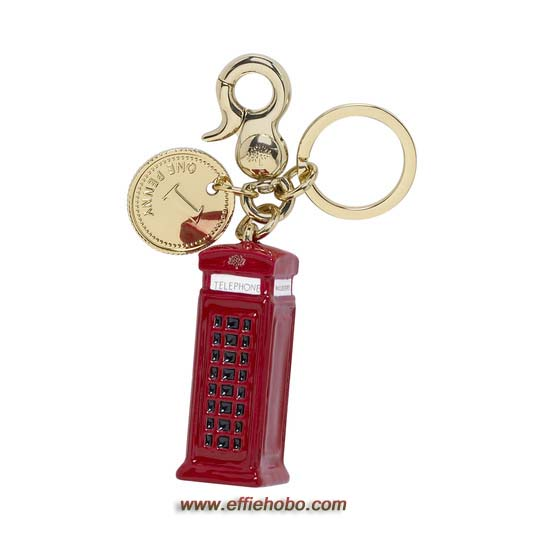 Mulberry Telephone Booth Keyring Pale Gold & Enamel