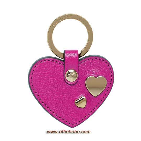 Mulberry Heart Rivet Keyring Mulberry Pink Glossy Goat