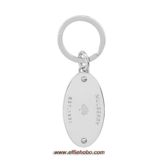Mulberry Oval Plaque Keyring Silver Metal