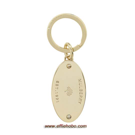 Mulberry Oval Plaque Keyring Soft Gold Metal