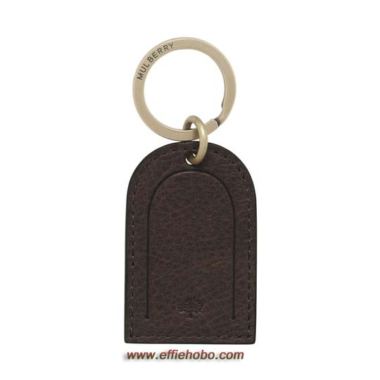 Mulberry Leather Tag Keyring Chocolate Natural Leather