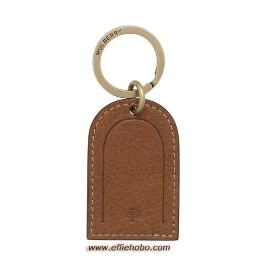 Mulberry Leather Tag Keyring Oak Natural Leather