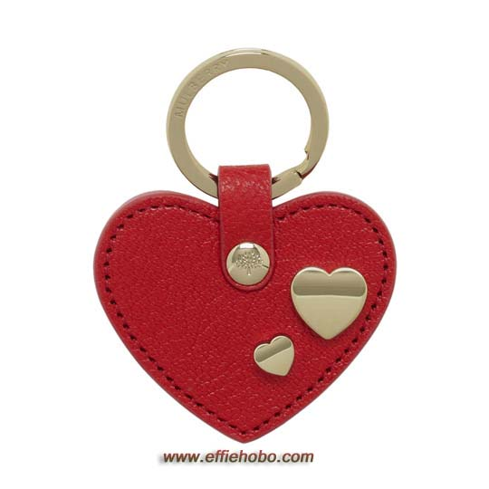 Mulberry Heart Keyring with Heart Rivets Red Glossy Goat