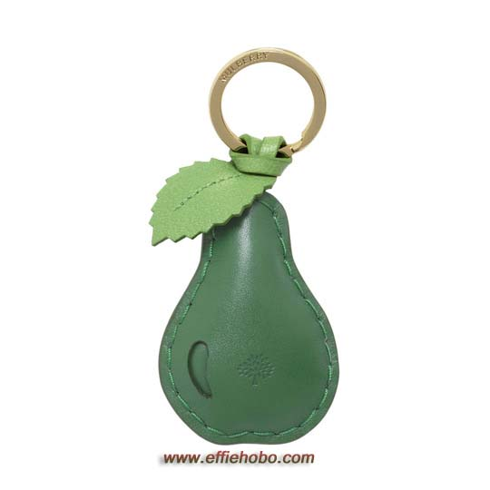 Mulberry Pear Keyring Green Flat Leather