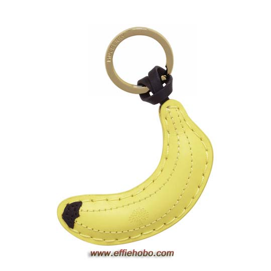 Mulberry Banana Keyring Yellow Flat Leather
