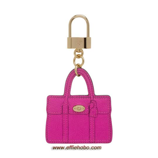 Mulberry Bayswater Bag Charm Mulberry Pink Glossy Goat