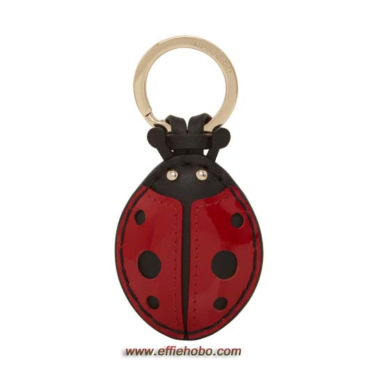 Mulberry Ladybird Keyring Red & Black Leather