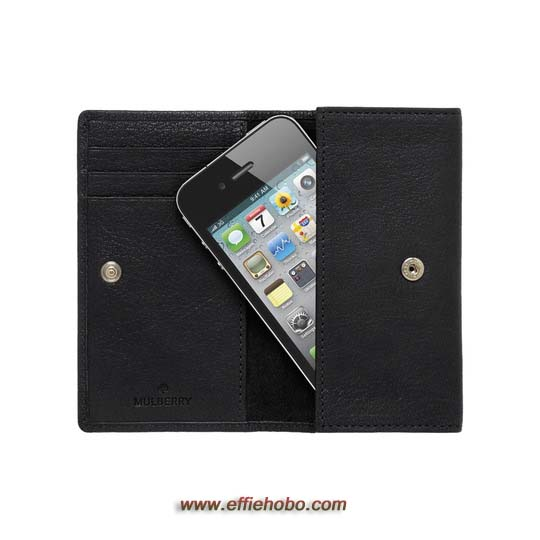 Mulberry Phone Case Black Natural Leather