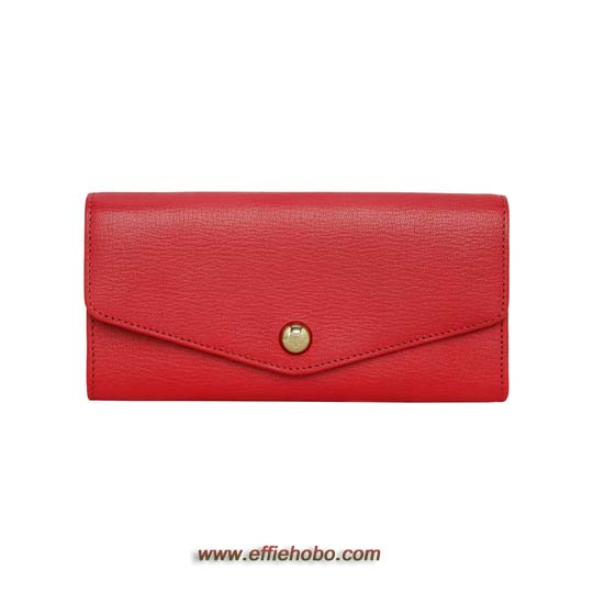 Mulberry Dome Rivet Continental Wallet Bright Red Shiny Goat