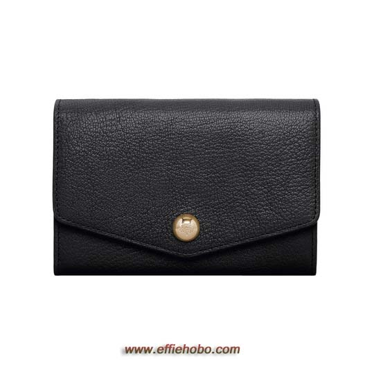 Mulberry Dome Rivet French Purse Black Glossy Goat
