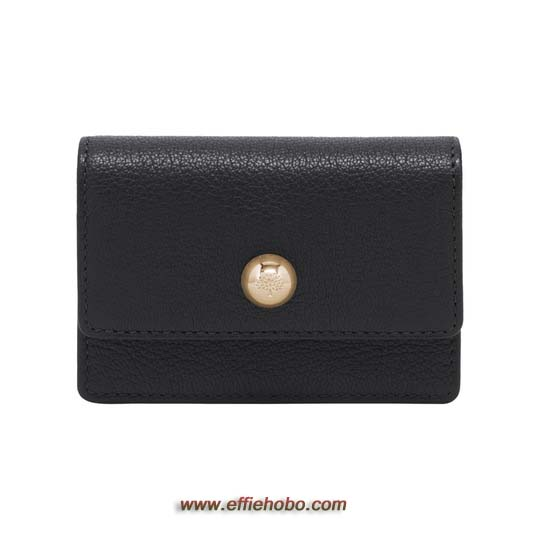Mulberry Dome Rivet Card Case Black Glossy Goat