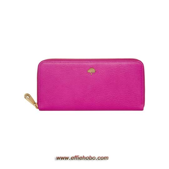 Mulberry Tree Zip Around Wallet Mulberry Pink Glossy Goat