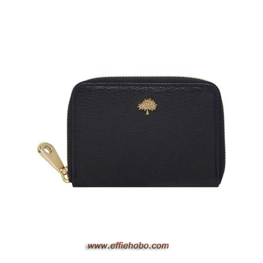 Mulberry Tree Zip Around Purse Black Glossy Goat