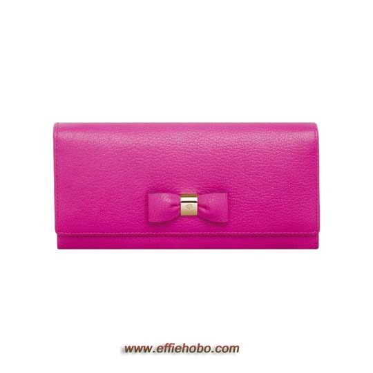 Mulberry Bow Continental Wallet Mulberry Pink Glossy Goat