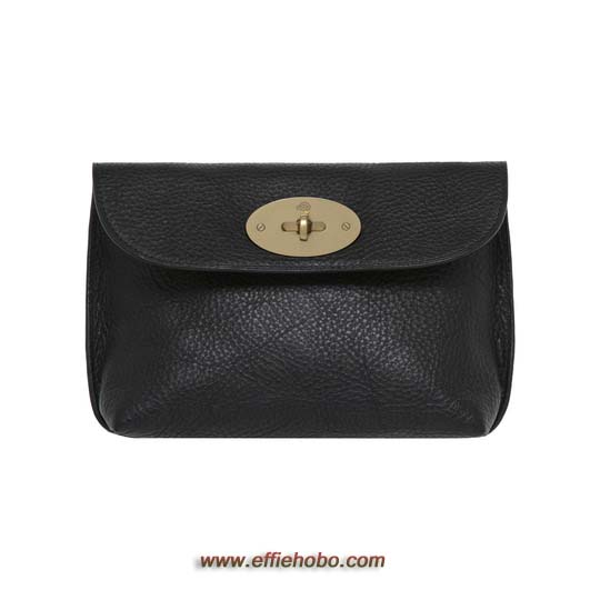 Mulberry Locked Cosmetic Purse Black Natural Leather with Brass