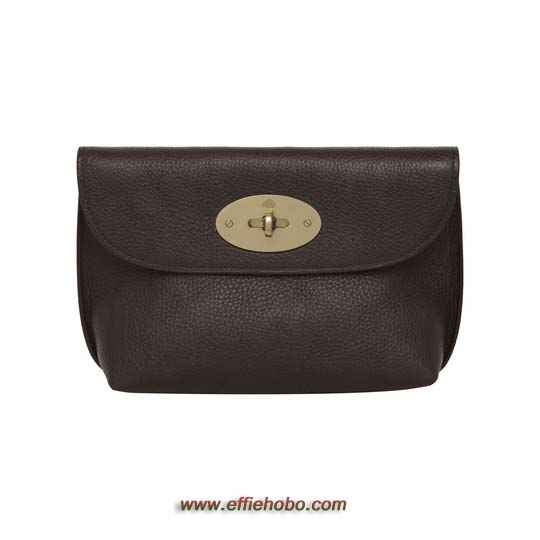 Mulberry Locked Cosmetic Purse Chocolate Natural Leather with Brass
