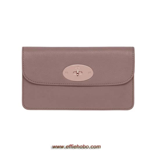 Mulberry Long Locked Purse Dark Blush Glossy Goat Leather