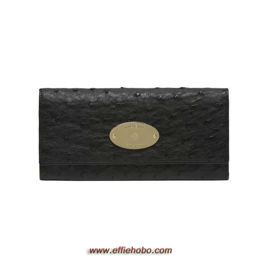 Mulberry Continental Wallet Black Ostrich