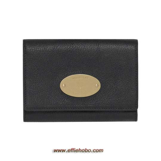 Mulberry French Purse Black Natural Leather with Brass