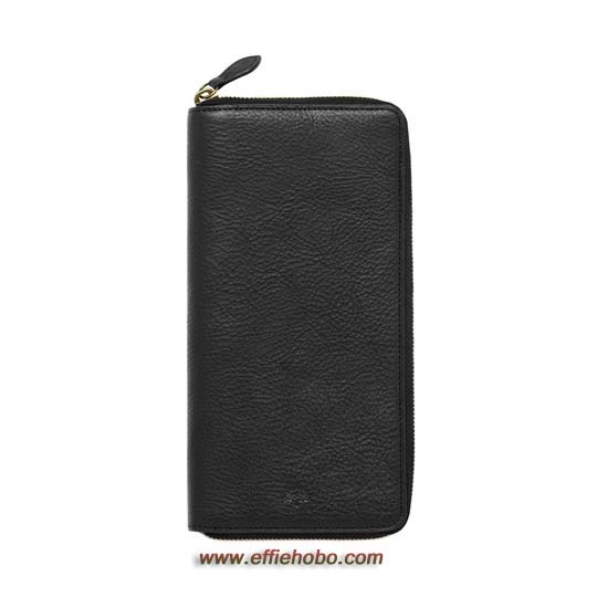 Mulberry Zip Around Travel Wallet Black Natural Leather