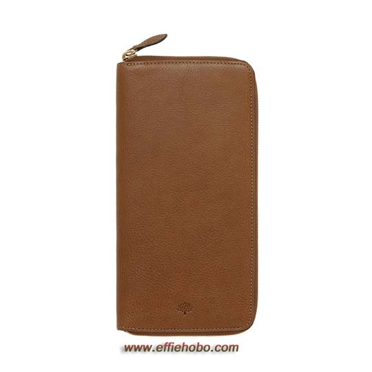Mulberry Zip Around Travel Wallet Oak Natural Leather