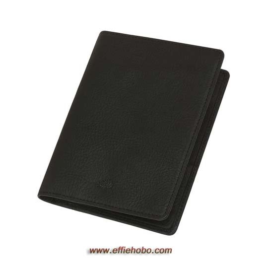 Mulberry Passport Cover Wallet Black Natural Leather