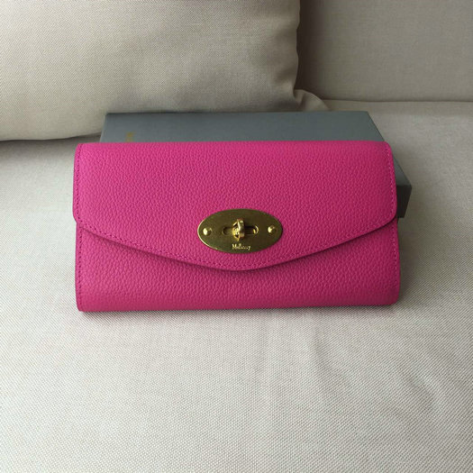 2016 A/W Mulberry Postman's Lock Long Wallet Hot Pink Grain Leather